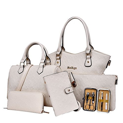 YipGrace Frau Sechs Stücke Schulter Handtaschen Brieftasche Sets Weiß