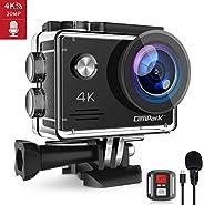 Campark 4K 20MP Action Cam con EIS Telecomando Microfono Esterno WiFi Videocamera Subacquea 40M 2 Batterie e K