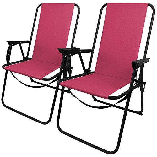 2 Stück Outdoor Klappstuhl faltbar inkl. Tragegurt, in 4 Farben verfügbar, Camping Garten Balkon Strand Faltstuhl Angelstuhl, Farbe:Pink
