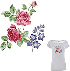 TOTAL HOME Colife Flower Patches For Clothes Iron On Patch Heat Print On T-shirt Dresses Sweater A-level Washable Stickers(Pack Of 1)