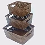 NAOE Plastic 4.25 L Multipurpose Baskets Without Lid, Brown(Set of 3)