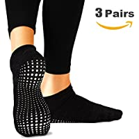 AllThingsAccessory®®®®®®® 3 x Pairs Non Slip Yoga Pilates Socks Martial Arts Fitness Dance Barre. Anti-slip/Non-slip,Full Toe Ankle Fall Prevention Grip Socks, Sox UK 4-9 / EU 38-44 by
