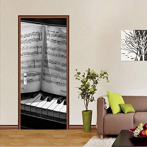 LMTQAZQ 3D Klavier Partitur Tür Aufkleber DIY Wandbild Selbstklebende Tapete Abnehmbare Wasserdichte Poster Aufkleber Wohnkultur Aufkleber 77X200CM