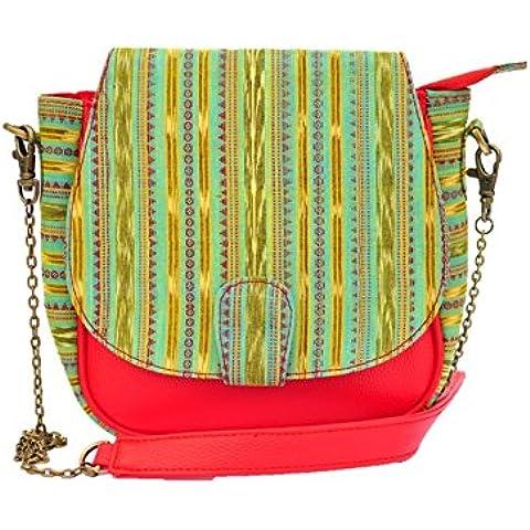 AT IKAT Indian De las mujeres Verde & rojo Silng Bolso crossbody bolso Mensajero con durable Metal cadena