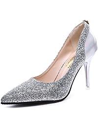 DIMAOL Zapatos de Mujer PU Primavera Otoño Comodidad Tacones Stiletto Talón Exterior Negro Oro Plata