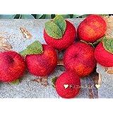 Apfel Filz 3 Stück 4-6 cm