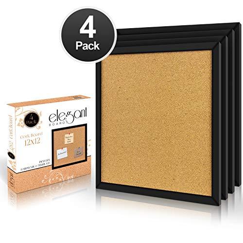 Elegante Tafeln aus Kork, 30,5 x 30,5 cm, quadratisch, Wandfliesen, modern, schwarzer Rahmen für Zuhause und Büro (Hardware und Vorlage im Lieferumfang enthalten).