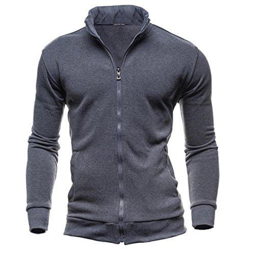SUCES Herren Winter Freizeit Sport Cardigan Reißverschluss Sweatshirts Tops Jacke Mantel Pullover Sweater mit Schalkragen aus hochwertiger Baumwollmischung Outwear Jacket (Dark Gray, M) (Cashmere-blend Sweater)