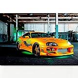 REDWPQ Fast & Furious Super Voiture Toyotas Supra Tuning Hot Rod Véhicules Affiche Toile Art Prints Peintures Murales pour Le Salon Décor 50 * 75 cm sans Cadre