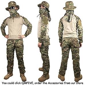 Chemise Tactique, QMFIVE Tactical Airsoft Camouflage Tee-shirt manches longues à manches longues BDU avec style militaire