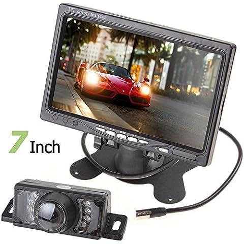 BW 17,78 cm TFT pantalla LCD a Color de 2 entrada de vídeo de visión trasera para coche reposacabezas Monitor DVD VCR + LED Monitor de visión trasera para coche resistente al agua para cámara de vídeo de Color 120