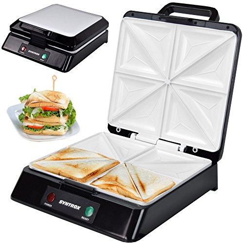 Syntrox Germany XXL Sandwichmaker mit Keramikbeschichtung zur Herstellung von 4 Sandwiches gleichzeitig