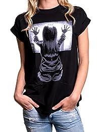 MAKAYA Shirt Lässig Kurzarm Schwarz mit Aufdruck - Poltergeist T-Shirt - Oversize Longshirt Große Größen