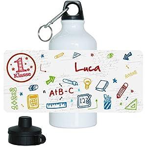 Trinkflasche mit Namen Luca und 1. Klasse-Motiv für Mädchen, aus Aluminium