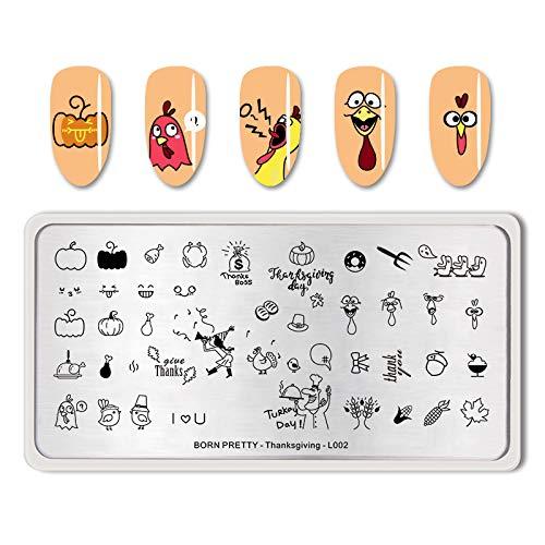BORN PRETTY Nail Art Stempel Vorlage Rechteck Türkei Bild Maniküre Dekoration Thanksgiving-L002 -