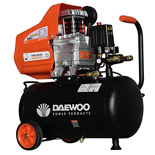 Daewoo DAC24D Compresor eléctrico 220 V, Negro/Naranja 2 HP, 195 L/mi