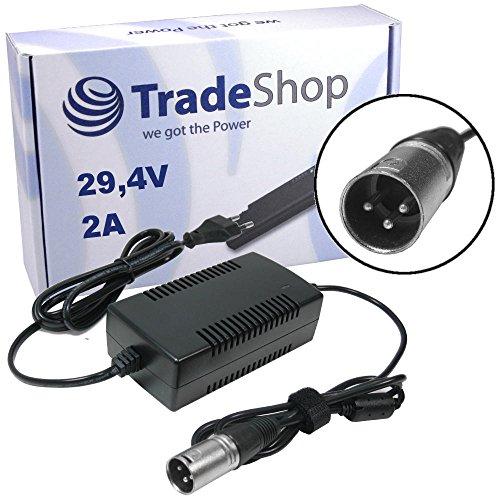 Trade-Shop Netzteil Ladegerät, Ladekabel 29,4V 2A für 24V Akkus mit 18,5mm 3pin XLR Stecker ersetzt HP1202L2 für Elektrofahrrad e-Bike Akkus von Prophete Alu-Rex City-Star Aldi Praktiker Hagebaumarkt Netto