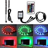 Computers Accessories Best Deals - HonestEast TV Backlight for HDTV RGB LED Light Strip 2*19.7in, 7.2W/5V, 24Key Remote Control TV Accent Lighting for Flat Screen TV Accessories, Desktop PC (Reduce eye fatigue and increase image clarity)