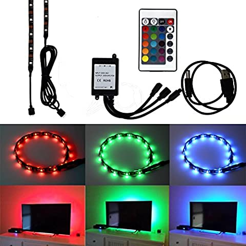 HonestEast TV Backlight for HDTV RGB LED Light Strip 2*19.7in, 7.2W/5V, 24Key Remote Control TV Accent Lighting for Flat Screen TV Accessories, Desktop PC (Reduce eye fatigue and increase image clarity)