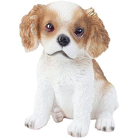 Realistico 15cm in poliresina cucciolo di cane Cavalier King Charles Spaniel seduto