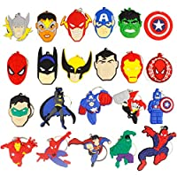 Earlywish 22pcs Keychain Key Ring Superhero Theme Goodie Bag Stuffer Holiday Charms for Kids Children Birthday Party Favors School Carnival Reward Prizes Decoration Collectible
