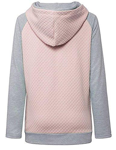 Chien Damour Imprimer Tops à Manches Fermeture à Alissière Casual Longues Sweat-Shirt Sweats à Capuche Pour Femme Rose