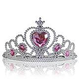 Katara - Diadème de princesse pour filles/ couronne argentée avec diamants en rose clair/ accessoire de déguisement - tiare costume de reine pour filles/ 3-11 ans