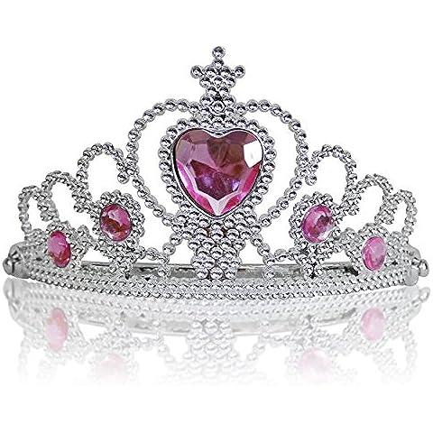 Princesas Disney - Diadema de princesa para niña, color rosa claro /plateado, 3-11 años  (Katara
