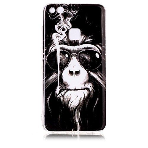 Huawei P10 Lite Hülle, Chreey [Retro Serie] Interessant Weiche Flexibel TPU Silikon Handyhülle Ultra Dünn Kratzfest Anti-Rutsch Schutzhülle Bumper Case Cover [Rauchender Affe]