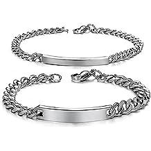 Jewelrywe DIY Pulseras parejas Acero inoxidable, Simple pulido pulsera brazalete de amor, Plateado(Un par) Oferta Especial Grabado Personalizado