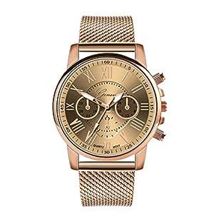 SO-buts Frauen Smartwatch,Lässige Analog Uhren, Armband Mit Edelstahl-Zifferblatt,Mode Dame Sport militärisch Watch, Quarz Uhr,Genfer Lederuhr ZA04-F