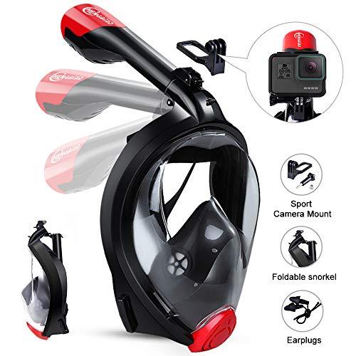 HENGBIRD Máscara de Buceo Integral Máscara de Esnórquel Anti-Vaho Anti-Fuga Gafas Cara Completa 180 ° Visible Apoyo Camara Deportiva (Black S/M)