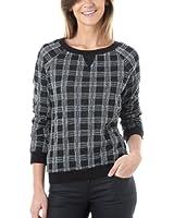 Promod Karo-Sweatshirt für Damen Schwarz bedruckt 36/38