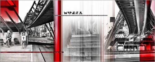 Leinwandbild 120 x 50 cm: Wuppertal Stadtcollage von Städtecollagen - fertiges Wandbild, Bild auf...