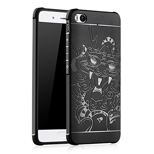 SMTR Xiaomi Mi5S Funda Silicona,Xiaomi Mi5S Funda Gel Suave TPU Case - Carcasa Resistente a los Arañazos para Xiaomi Mi5S -dragón Negro
