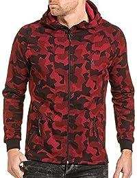 BLZ jeans - Gilet sweat zippé rouge effet camouflage avec capuche