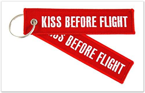 "Preisvergleich Produktbild Schlüsselanhänger - "" KISS BEFORE FLIGHT "" (beidseitig) inkl. Schlüsselring - Rot / Silber-weiße Schrift"