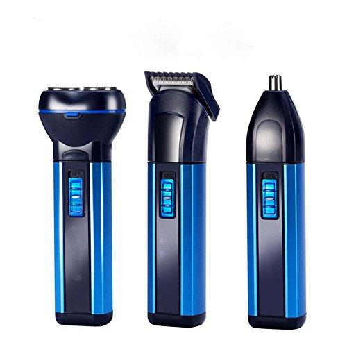 Elektrischer multifunktioneller intelligenter Rasierer Doppelkopf Rasiermesser Friseur Nase Haarschneider blau Charge Männer und Frauen allgemeine Körperwäsche mit sauberer Bürste