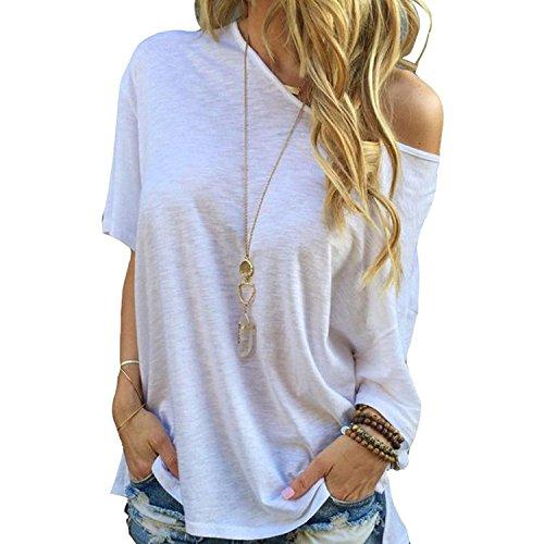 Landove t shirt monospalla donna camicetta estiva maglietta maglie maniche corte ragazza tops casual