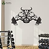 Gym Aufkleber Fitness Bodybuilding Poster Muscle Hantel Vinyl Wand Parede Decor Sport Gym Aufkleber...
