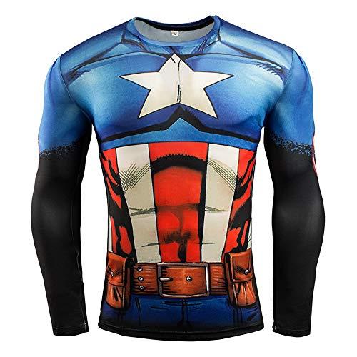 HOOLAZA Avengers Super Heroes Männer Kompressions-T-Shirt Captain America Tops Fitness - Captain America Kostüm T-shirt