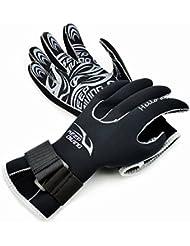Submarinismo, aodio Premium Guantes de neopreno elástico guantes de 3mm Para Deportes En El Agua Buceo segeln Surf Negro, extra-large