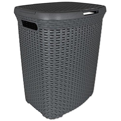 TW24 Wäschekorb Rattan aus Kunststoff grau - Wäschetruhe - Wäschekiste - Wäschebox