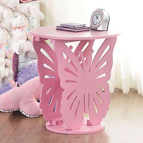 Top Home Solutions Kinder Holz Schmetterling Runde Seite End Lampe Tisch Kids Mädchen Schlafzimmer Rose