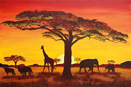 great-art Sonnenuntergang in Afrika Wanddekoration - Wandbild Savanne Motiv XXL Poster (140 x 100 cm)