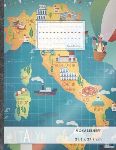 VOKABELHEFT DIN A4 • 50+ Seiten, Soft Cover, Register, 2 Spalten, Erfolgs-Tacker,