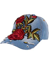 Rrimin Fashion Unisex Rose Flower Rhinestone Embroidery Hip-hop Baseball Cap Snapback Hat