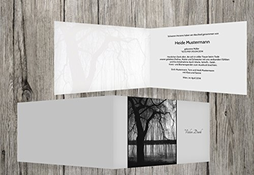 Trauerkarten-Druck   Trauer Danksagung   Danksagungskarten Trauer Baum   10 Karten   mit Individualisierung & Umschlägen   in hellesGrau