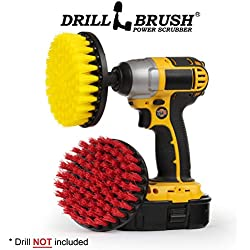 Deck Brush - Pool Brush - Grout Cleaner - Drill Brush - Spin Brush Two Piece Kit - Grout Cleaner - Concrete Bird Bath, Benches, Statuary - Hard Water, Calcium, Mineral Deposits, Soap Scum, Rust Stains