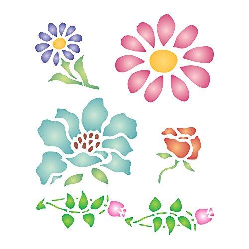-Motiv, wiederverwendbar, kleine Blumen, Blätter, Knospen, Wandschablone m ()